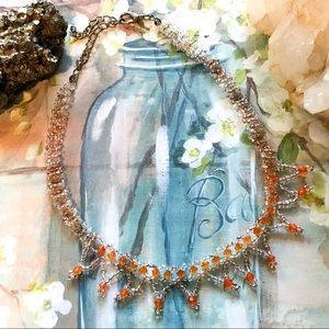 Jewelry - Delicate Orange Beaded Choker Necklace
